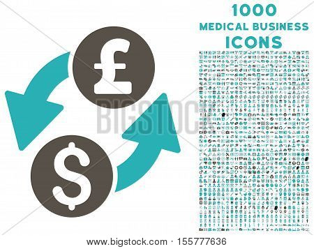 Dollar Pound Exchange vector bicolor icon with 1000 medical business icons. Set style is flat pictograms, grey and cyan colors, white background.