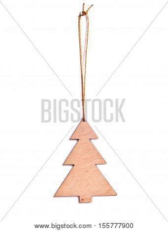 Wooden Christmas tree on a white background. Christmas toy gift or souvenir