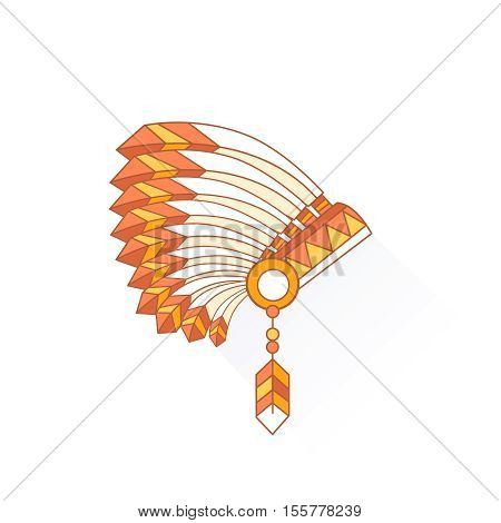 Native American Indian chief headdress with plumage. Side view. Vector Illustration Isolated on white background.