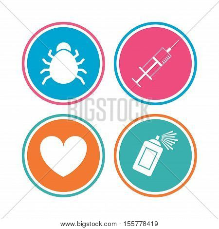 Bug and vaccine syringe injection icons. Heart and spray can sign symbols. Colored circle buttons. Vector
