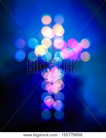 Christian cross bokeh blurry light circles illustration