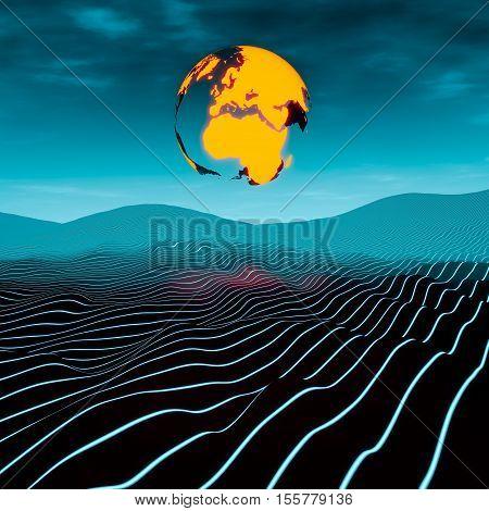 Earth over a linear planet scifi landscape illustration 3D