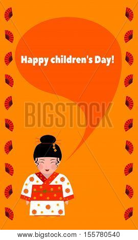 greeting card with children's day with a picture of a girl in a kimono-a traditional costume