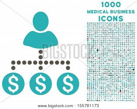 User Payments vector bicolor icon with 1000 medical business icons. Set style is flat pictograms, grey and cyan colors, white background.