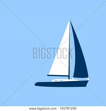 Sailing Yacht Boat Flat Icon Vector Illustration