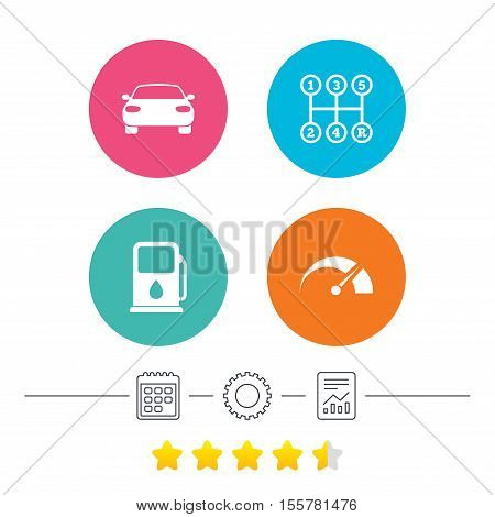 Transport icons. Car tachometer and manual transmission symbols. Petrol or Gas station sign. Calendar, cogwheel and report linear icons. Star vote ranking. Vector