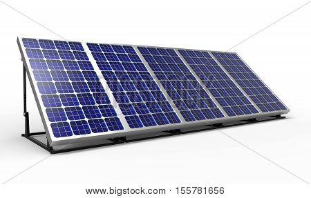 Solar panel 3D rendering on white background
