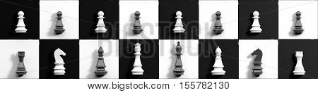 3D Rendering Chess Set On A Chessboard