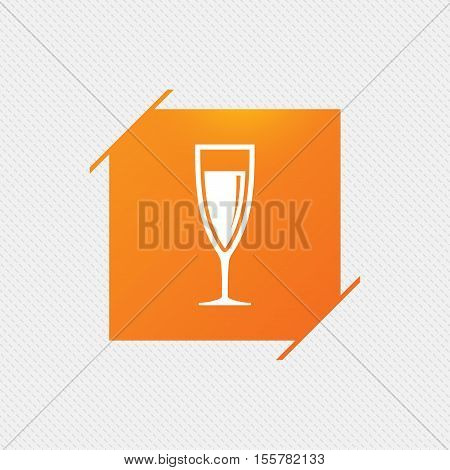 Glass of champagne sign icon. Sparkling wine. Celebration or banquet alcohol drink symbol. Orange square label on pattern. Vector