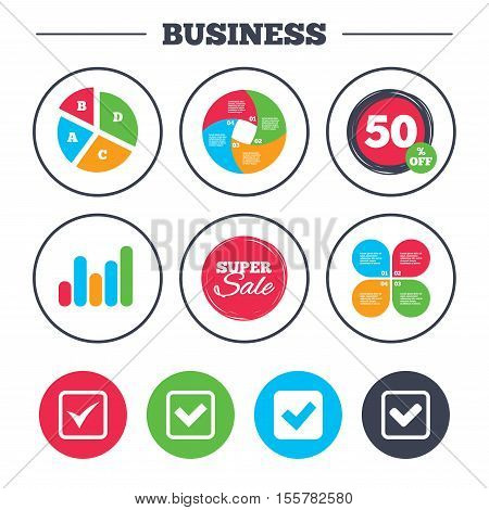 Business pie chart. Growth graph. Check icons. Checkbox confirm squares sign symbols. Super sale and discount buttons. Vector