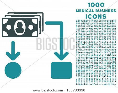 Cashflow vector bicolor icon with 1000 medical business icons. Set style is flat pictograms, soft blue colors, white background.