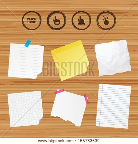 Business paper banners with notes. Click here icons. Hand cursor signs. Press here symbols. Sticky colorful tape. Vector