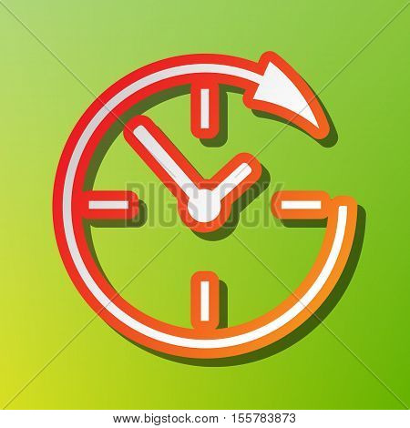 Service And Support For Customers Around The Clock And 24 Hours. Contrast Icon With Reddish Stroke O