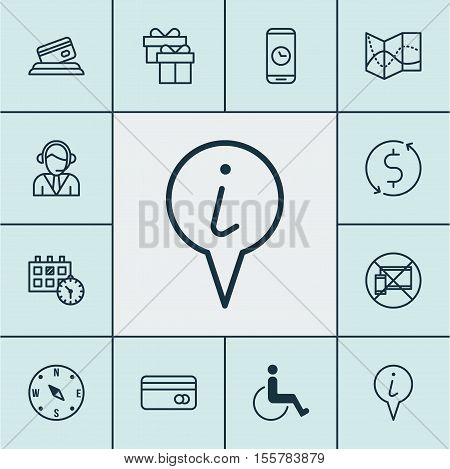 Set Of Traveling Icons On Info Pointer, Operator And Credit Card Topics. Editable Vector Illustratio