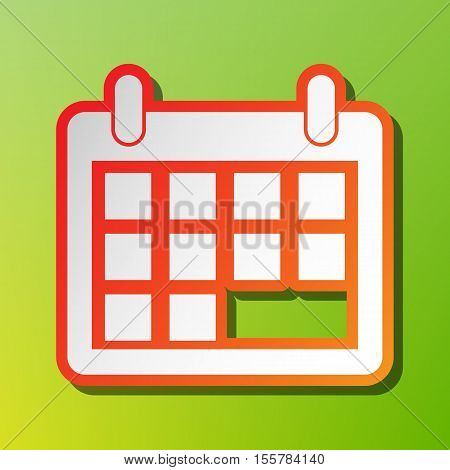 Calendar Sign Illustration. Contrast Icon With Reddish Stroke On Green Backgound.