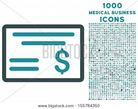 Dollar Cheque vector bicolor icon with 1000 medical business icons. Set style is flat pictograms, soft blue colors, white background.