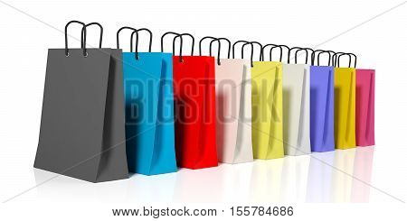 3D Rendering Shopping Bags On White Background
