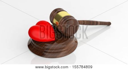 3D Rendering Auction Gavel And A Red Heart