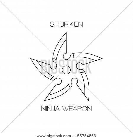 Shuriken ninja japanese concealed weapon. Vector stars line icon.