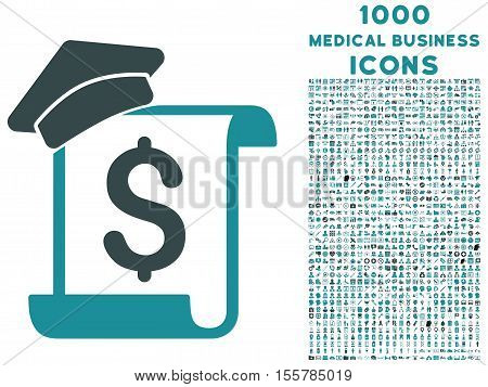 Education Invoice vector bicolor icon with 1000 medical business icons. Set style is flat pictograms, soft blue colors, white background.