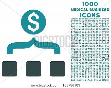 Money Aggregator vector bicolor icon with 1000 medical business icons. Set style is flat pictograms, soft blue colors, white background.