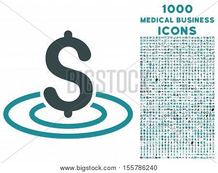 Money Area vector bicolor icon with 1000 medical business icons. Set style is flat pictograms, soft blue colors, white background.