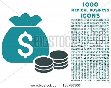 Money Bag vector bicolor icon with 1000 medical business icons. Set style is flat pictograms, soft blue colors, white background.