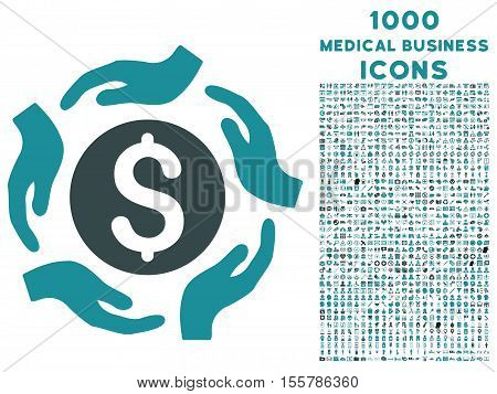 Money Care Hands vector bicolor icon with 1000 medical business icons. Set style is flat pictograms, soft blue colors, white background.