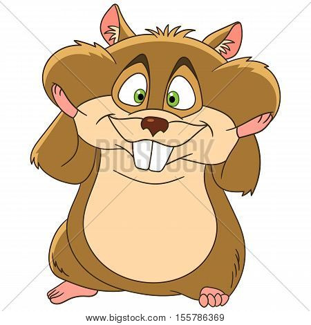 Cute and happy cartoon hamster animal with full cheeks isolated on white background. Childish vector illustration and colorful book page for kids.