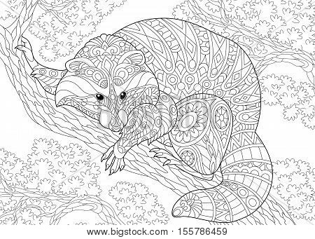 Stylized raccoon animal sitting on a tree branch. Freehand sketch for adult anti stress coloring book page with doodle and zentangle elements.