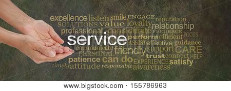 Offering Service word cloud - female hands in cupped offering gesture with the word SERVICE surrounded by a relevant gold colored word cloud on a rustic dark stone background