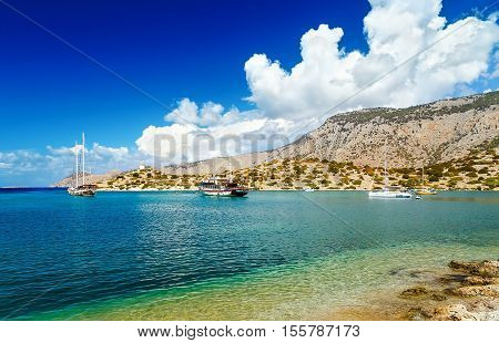 panorama of the Bay of panormitis of Symi , the ships. and boats at anchor
