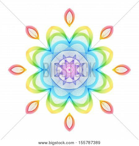 Abstract Rainbow Geometric Flower on White Backdrop. Decorative Design Element for Background. Circular Patterned Ornament.