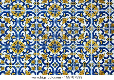 Azulejos traditional Portuguese ceramic tiles on facade of old building in lisbon portugal