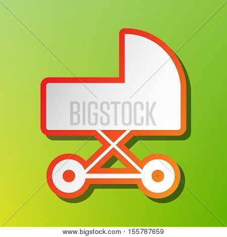 Pram Sign Illustration. Contrast Icon With Reddish Stroke On Green Backgound.