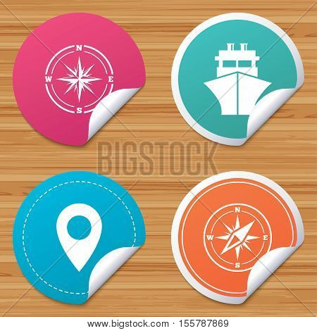 Round stickers or website banners. Windrose navigation compass icons. Shipping delivery sign. Location map pointer symbol. Circle badges with bended corner. Vector