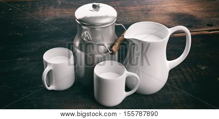 3D Rendering Can, Jug  And Cups With Milk