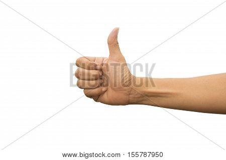 woman hand showing thump up or commend sign good and like symbol.