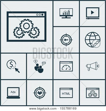 Set Of Marketing Icons On Loading Speed, Connectivity And Market Research Topics. Editable Vector Il