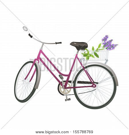 Bicycle with flowers in basket. Vector illustration.