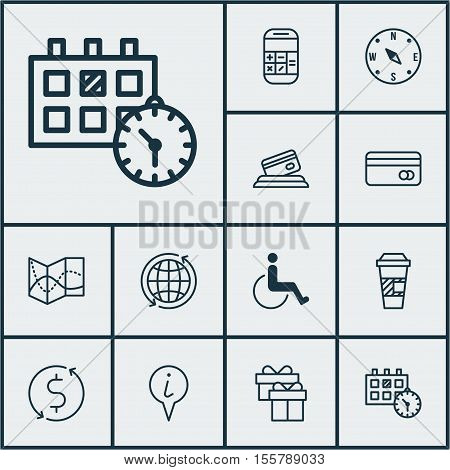 Set Of Travel Icons On Locate, Info Pointer And Credit Card Topics. Editable Vector Illustration. In