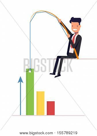 Businessman or manager pulling graph to going up growth trend. Man in a business suit with fishing rod. Vector, illustration EPS10
