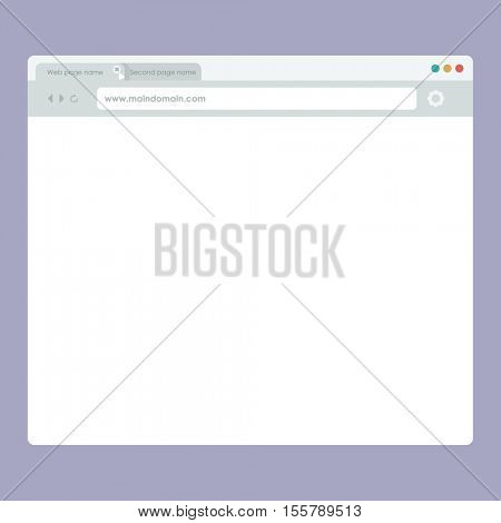 flat style UI browser. The net web page template. User interface. blank webpage window.