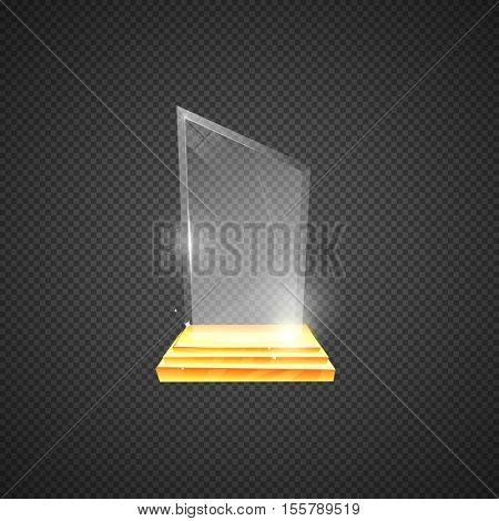 Empty glass trophy awards. Glossy transparent trophy for award illustration vector. Glass reward in gold stand