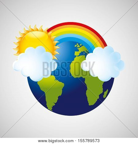 globe earth weather meteorology cloud rainbow vector illustration eps 10