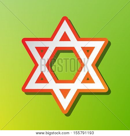 Shield Magen David Star. Symbol Of Israel. Contrast Icon With Reddish Stroke On Green Backgound.