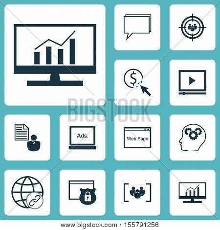 Set Of Marketing Icons On Focus Group, Connectivity And Report Topics. Editable Vector Illustration.