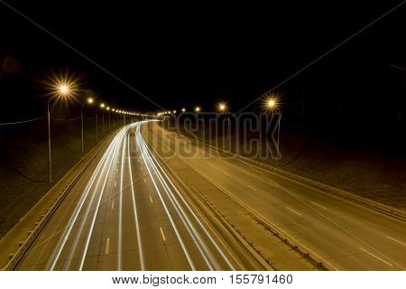 Night highway taken from a bridge on a long exposure