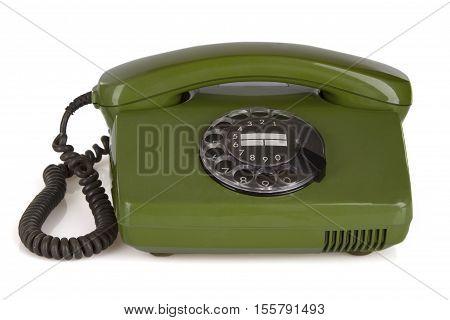 Retro vintage phone isolated on white background