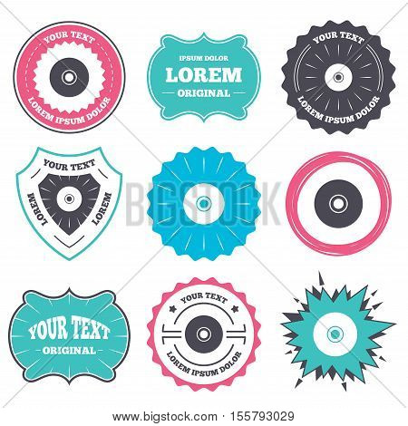 Label and badge templates. CD or DVD sign icon. Compact disc symbol. Retro style banners, emblems. Vector